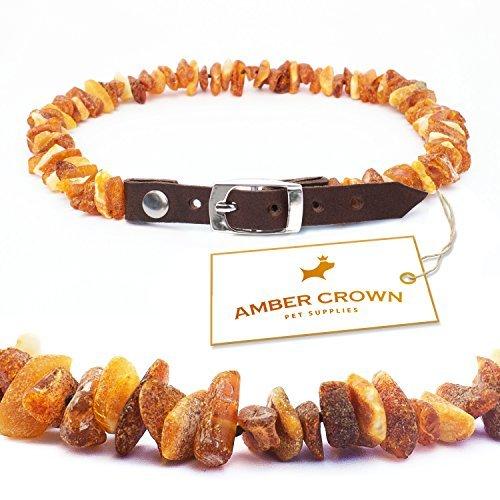 Amber Crown - Bernsteinkette für Hunde und Katzen mit Lederschließe, gegen Zecken und Flöhe