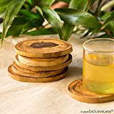 ExclusiveLane Round Wooden Handcrafted Coasters Set For Dining Table Cum Tea Coasters (Brown, Set Of 6)