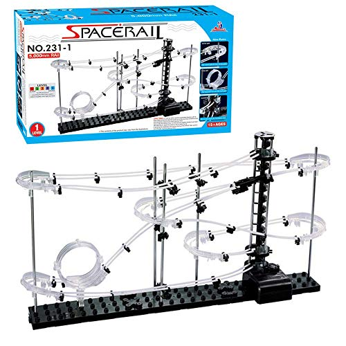 (CX TECH Pacerail Rollercoaster Level 2 Marmor-Achterbahn Run DIY Track Build Kit Weltraumbahngleis Perpetual Brain Game Construction Gadget)