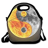 Ntpclsuits Lunch Tote Bag Yin Yang Earth Travel School Picnic Lunch Bag