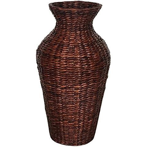 Eshow mimbre cesta de almacenaje de ratan a mano decoracion con flor para hogar empresa regalo color marron