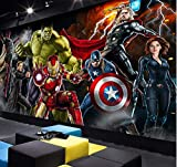 3d Avengers Photo Wallpaper Hulk Iron Man Capitaine America Murale Garçons Chambre Murale Largeur 200cm * Height140cm un