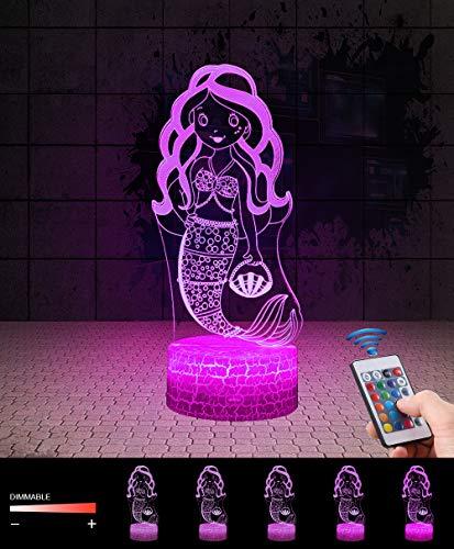 3D Meerjungfrau Lampe LED Nachtlicht mit Fernbedienung, QiLiTd 7 Farben Wählbar Dimmbare Touch Schalter Nachtlampe Geburtstag Geschenk, Frohe Weihnachten Geschenke Für Mädchen Männer Frauen Kinder