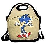Sonic el erizo bolsa para el almuerzo cajas de almuerzo, impermeable al aire libre Viajes Picnic Lunch Box bolsa bolso con cremallera y ajustable correa de Crossbody