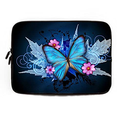 Funny Computer Cases for Laptops 15.6 Blue Butterfly Computer Sleeve 15 15.4 Inch Soft Waterproof Neoprene Laptop Sleeve Gifts Fashionable Laptop Cases 15.6 inch