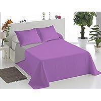 ForenTex - Colcha Boutí, (Q-LG), reversible, Bicolor Lila Gris, Termo Estampada, barata, colcha con relleno ligero. (cama 90 cm (180 x 260 cm))