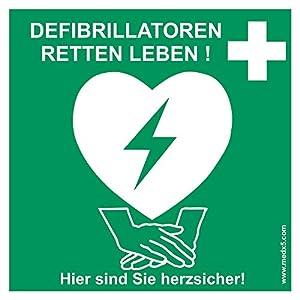 MedX5 Defibrillator (AED) Standort Kennzeichnung Aufkleber, Defi Standortschild, AED Markierung