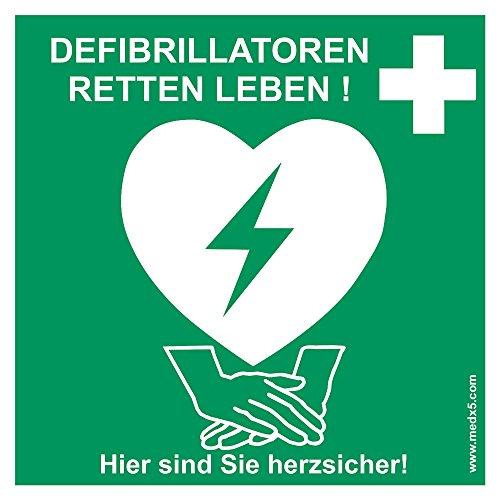 MedX5 Defibrillator (AED) Standort Kennzeichnung, Aufkleber, Defi Standortschild, AED Markierung