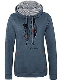 SUBLEVEL Damen Print Sweatshirt | Sportlich leichter Pullover mit Stehkragen| Sweat-Pulli mit Feder-Print