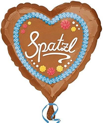 paduTec Folienballon Ballon Herzballon - Spatzl Oktoberfest Wiesn Lebkuchen Bayrisch - geeignet zur befüllung mit Luft oder Helium - UNGEFÜLLT