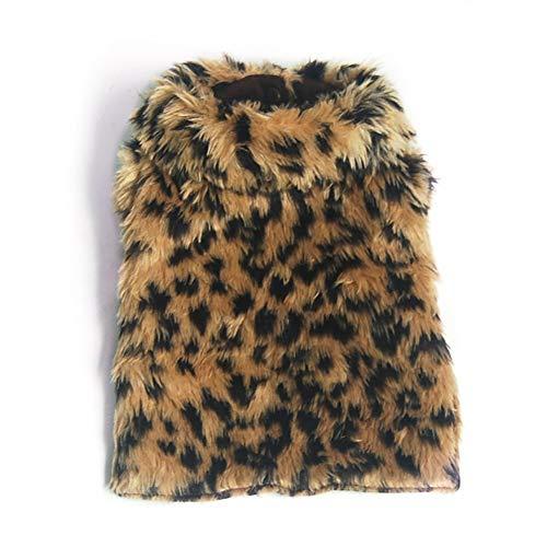 Ouken PET-Kleidung Hund Kostüm Welpen Winter warme Mantel Mantel Leopard Print Kleider (Leopard Print Mantel Kostüm)