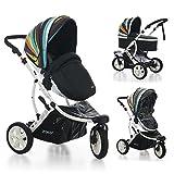Carrito bebé ZOKO plegable 3 ruedas DUO. Capazo + Silla en MULTICOLOR-MARINO. Un completo sistema de paseo y viaje.