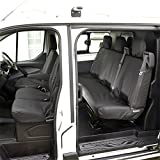 Fundas para asientos delanteros y trasero para Ford Transit Custom DCIV (año 2013 en adelante), color negro
