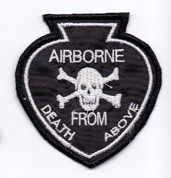 PATCH,TOPPA RICAMATA TERMOADESIVA AIRBORNE DEATH FROM ABOVE