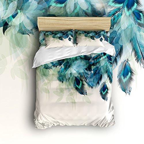 Anzona leicht Mikrofaser Bettbezug-Sets, Artistic handbemalt Pfau Federn Design, angenehm atmungsaktiv und weich, baumwolle, multi, Queen -