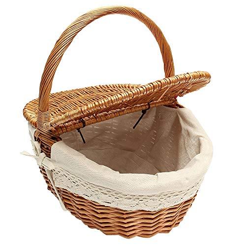webt Picknickkorb, Oval Willow großen Ablagekorb mit Deckel und Griff, Obstkörbe Ostern Korb 15,7