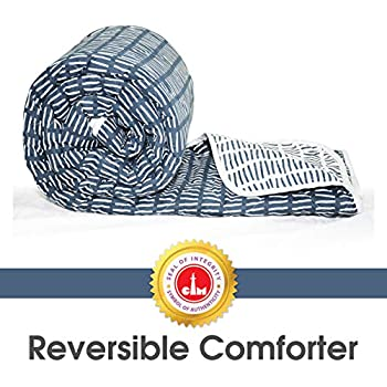 Divine Casa Luxor Striped Polyester Single Comforter - Blue Mirage and White (110 GSM)