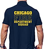 Polo - Thème pompier de Chicago  - Avec inscription « Chicago Fire Department Squad » en jaune