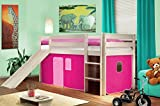 Hochbett Kinderbett Spielbett mit Rutsche Massiv Kiefer Weiß - Pink - SHB/14/1032