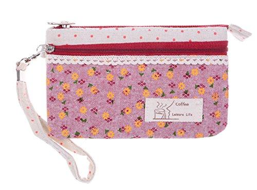 KISS GOLD (TM) Sac Floral Frais Toile Sac Téléphone Pochette-Monnaie Femmes/Filles Rouge Violet