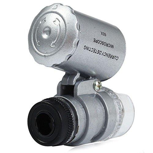 Yunchenghe Tätowierungs-Nadel-Vergrößerungsglas, Handy für Gebrauch externes Mikroskop 60mal HD LED Vergrößerungsobjektiv-Werkzeuge Silber Mini 60 X LED Mikroskop-UVlampen-Schmucksache-Vergrößerungsglas-Schmucksachen (Hd Externe Powered)
