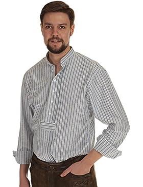 Orbis Herren Hemd langarm zum krempeln Trachtenhemd Herren Stehkragen mit Riegel und Biesen