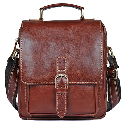 Mefly Mens In Pelle Spalla Singolo Sacchetto Piccolo Portatile Borsa Marrone Brown