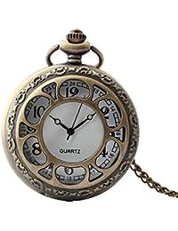 Maybesky Reloj de Bolsillo Creativo Vintage Hueco Reloj de Cuarzo Redondo con Cadena Caja de Regalo para cumpleaños Aniversario día Nav