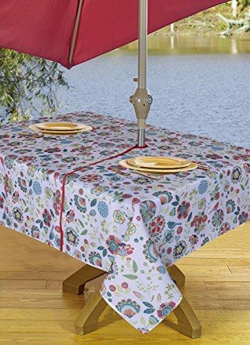 Texstyles Tischdecke TISCHDECKE Outdoor Regenschirm Tischdecke mit Loch & Reißverschluss 137,2x 182,9cm Floral