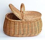 Tigana Picknickkorb mit Zwei Deckel Einkaufskorb aus Weide (46 x 31 cm - 1F)