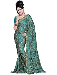 Aaradhya Fashion Women'sCrepe Saree With Blouse Piece (AFMOSS-0176_Sea Green)