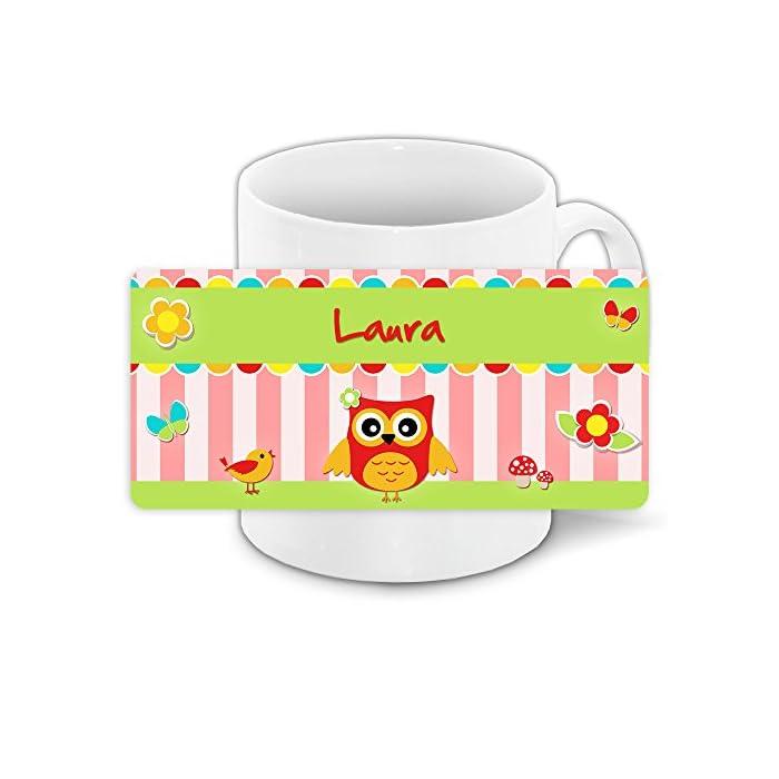 Eulen-Tasse mit Namen Laura und schönem Eulenmotiv für Mädchen