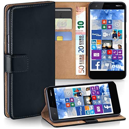 moex Nokia 2 | Hülle Schwarz mit Karten-Fach 360° Book Klapp-Hülle Handytasche Kunst-Leder Handyhülle für Nokia 2 Case Flip Cover Schutzhülle Tasche