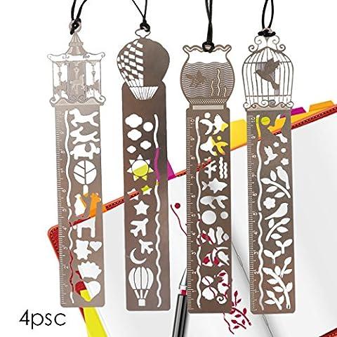 A-SZCXTOP 4 Pcs Outils de bricolage Création creuse et Règle créative et portable Modèles de dessin animé Signets Metal Signet Modèles Règle avec String Fournitures scolaires de bureau