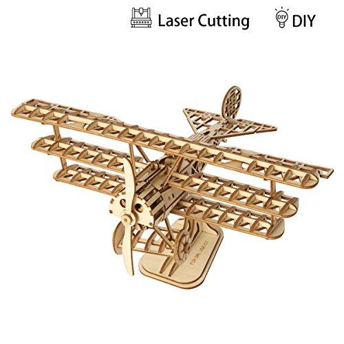 Rolife Woodcraft Baukasten 3D Holz Puzzle Kits DIY Spielzeug Geschenk für Kinder, Jugendliche und Erwachsene (Airplane )