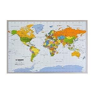 Mapa del mundo Corcho Tablón de anuncios en francés 90x60cm