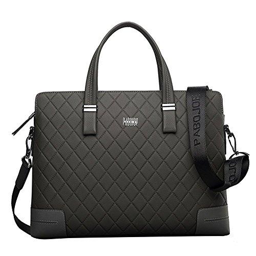 Oneworld Herren Rindleder Messenger Bag Aktentasche Schultertasche Notebooktasche Handtasche Umhängetasche Schultasche Tote Bag 38x29.2x6cm(BxHxT) Grau Grau