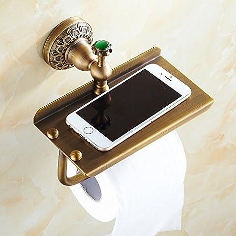 Portarrollos llena de cobre antiguo/toallero multifuncional/titular de papel higiénico/Cobre soporte del papel higiénico/caja de pañuelos/estante del