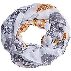 bufanda infinita sin fin manguera redonda bufanda de senora ligera calavera blanco
