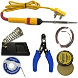FEDUS 6 in 1 Electric Soldering Iron Stand Tool Wire Stripper Kit Soldering Kit Set with 25W Welding Stick Desoldering | WIK Stand |Flux | Wire Stripper | Solder Wire for DIY/Crafts