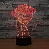 Lampe de nuit optique menée de la lampe 3D, 7 couleurs, coeur, lampe de commutateur de télécommande tactile, pile USB/AA, bureau adulte