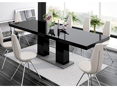 H MEUBLE Table A Manger Design Extensible 210÷260 CM X P : 89 CM X H: 75 CM - Noir