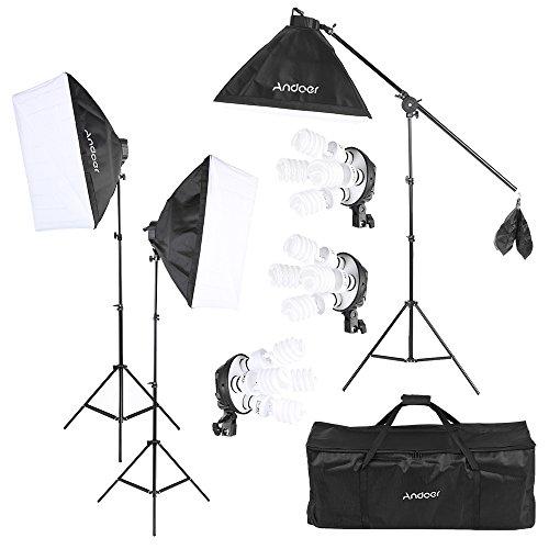 Andoer Studio-Foto-Video Licht-Kit mit 12 * 45W Lampe / 3 * 4in1 Lampenfassung / 3 * Softbox / 3 * Licht-Standplatz / 1 * Cantilever Stick / 1 * Tragetasche