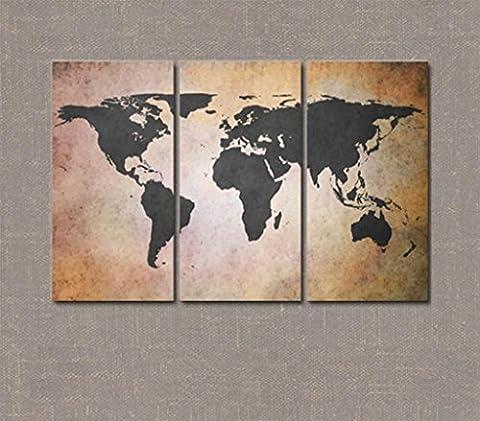 Segeltuch-Wand-Kunst-Verkleidungs-Weltkarte Abstraktes Ölgemälde auf Segeltuch-Grafik Für Wohnzimmer-Wand-Dekor Großes Segeltuch-Wand-Kunst Modernes Hauptdekor -4202-GZD , 3 (Große Wand-dekor)