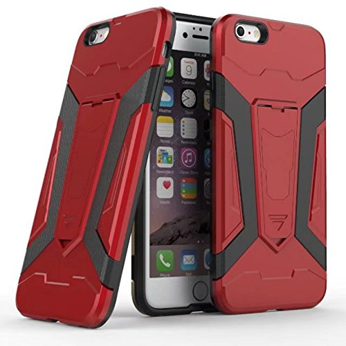 UKDANDANWEI Apple iPhone 7 Hülle, 【Armor Man】Hybrid Armour Tough Stil Dual LayerDefender PC Bumper Handyhülle Cases mit Ständer [stoßfest Fall] für Apple iPhone 7 - Azurblau Rot