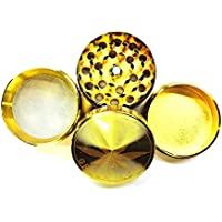 """Gold Metall Bar""""Stempel 50mm Kräuter Grinder 4Teile Crystal Catcher mit Diamant Zähne in Farbe–1Mahlwerk von Trendz Originalverpackung"""