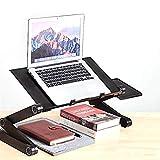 GEATA Laptop Table vassoio della base del giro scrivania pieghevole, multi-uso portatile Computer Desk Altezza regolabile Notebook Stand supporto della lettura con il mouse della piattaforma e 2 cingh
