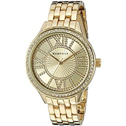 Rampage Women's 'Crystal Dial Band' Quartz Metal and Alloy Automatic Watch, Color:Gold-Toned (Model: RP1108GDTP)