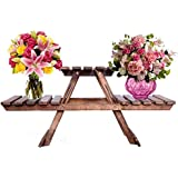 Indian Karigars Wooden Living Room Bed Side Stand/Wooden Stool/Flower Pot Stand Flower Vase Stand for Home Decor Home Furnishing Wooden Multipurpose Folding Rack/Plant Stand with 3 Decks
