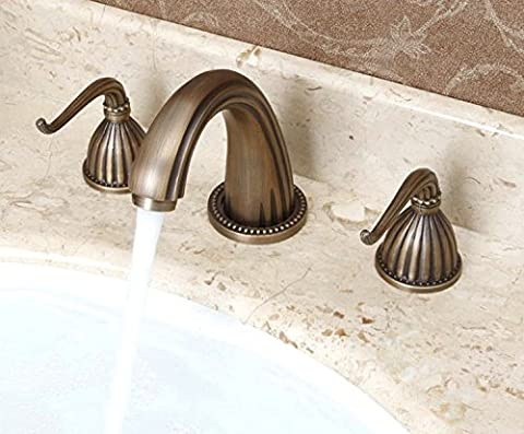 Classical Style Dual Handles Minispread Antique Brass Faucet for